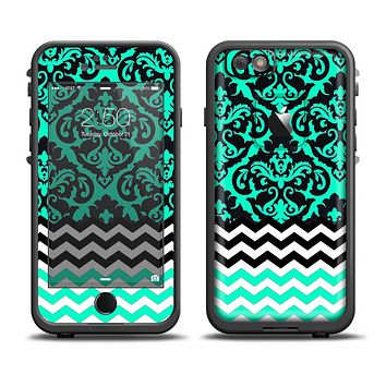 The Mirrored Trendy Green V2 Chevron Delicate Skin Set for the Apple iPhone 6 LifeProof Fre Case