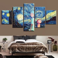 Rick and Morty Starry Night Five Piece Canvas