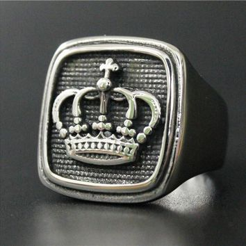 Fashion Mens Crown Ring Stainless Steel Jewelry Ring