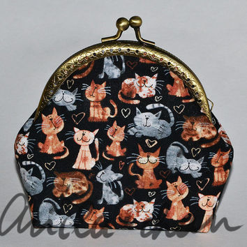 Cat purse, black cats, cat coin purse, cat lovers gift with metal frame