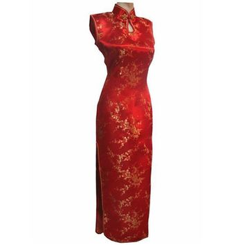 Red, Black, White, Pink Long Slit Floral Silk Long Cheongsam One-piece Chinese Qipao Dress