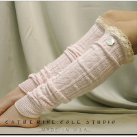 Real shell flower button lace LEG WARMERS / womens in pink..cotton cable knit pattern by Catherine Cole Studio made in usa