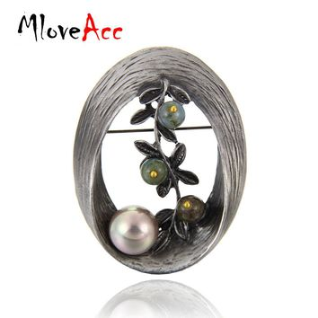 MloveAcc Vintage Style Oval Shape Imitation Pearl Brooch Stones Twig Brooches & Pins Christmas Gifts for Women Lady Jewelry