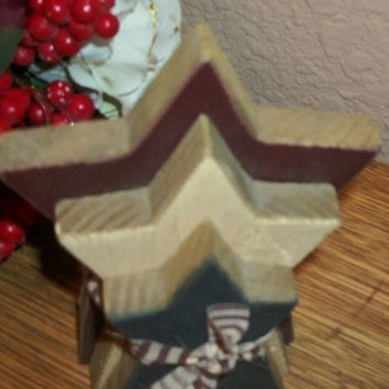 Red White and Blue Wooden Stars Americana Rustic Hand Crafted Primitive USA Patriotic Home Decor