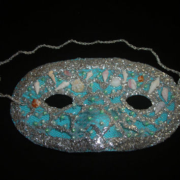 Blue and Silver Lace Mask Decorated with Real Seashells and Faux Pearls, Handmade Mask, Glitter Mask, Masquerade Mask, Free US Shipping