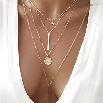 Double Bar, Star and Disc Gold Layered Necklace