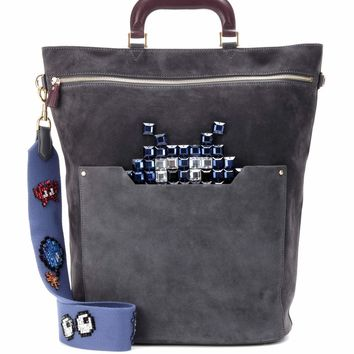 Orsett Top Handle Space Invader suede crossbody bag