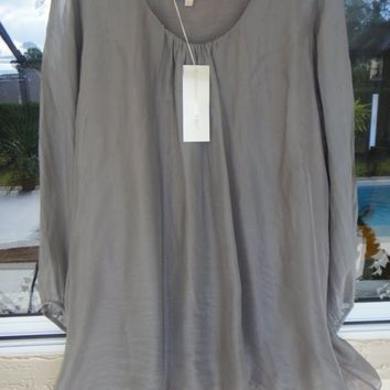 NWT ITALIAN PRONTOMODA GIUSY 100% LIGHT SILK FANG COLOR TOP BLOUSE TUNIC SZ. 2X