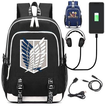Cool Attack on Titan  Backpack with USB Charging Port and Lock &Headphone interface for College Student Work Men & Women AT_90_11