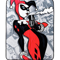 DC Comics Harley Quinn Smoking Gun Throw Blanket