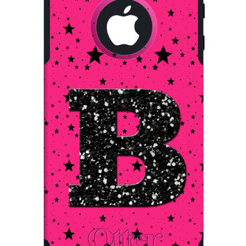 OTTERBOX COMMUTER iPhone 5 5S 5C 4/4S Case Custom Glitter Bling Hot Pink Black Stars Personalized Monogram