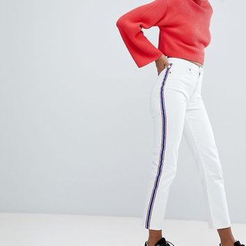 Monki Moluna Side Stripe White Jeans at asos.com