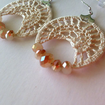 Crochet Lace Small Hoops With Cream Beige Cotton Thread and Czech Crystal Hologram  Beads in Gold and White, Crochet Earrings, Tribal Hoops