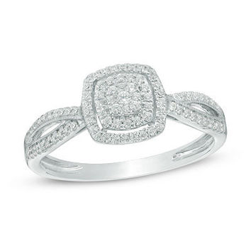 1/5 CT. T.W. Composite Diamond Frame Promise Ring in 10K White Gold - Save on Select Styles - Zales