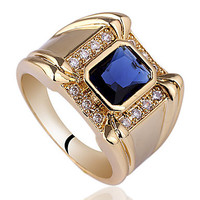 Intionix Shop Men 4-Claw Design Base Yellow Gold Finish Sterling Silver Ring With Oblong Cubic Zirconia