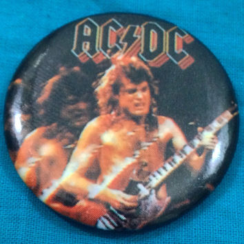 Vintage 80s AC/DC Angus Young Rocking Button Pinback Badge Pin