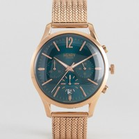 Henry London Stratford Chronograph Mesh Watch In Gold at asos.com