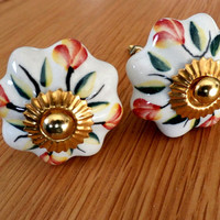 Vintage Ceramic Knobs, Drawer Pulls, Cabinet Knob, Hand Painted Ceramic Knob, Dresser Knob,  White Floral Drawer Pulls Handles