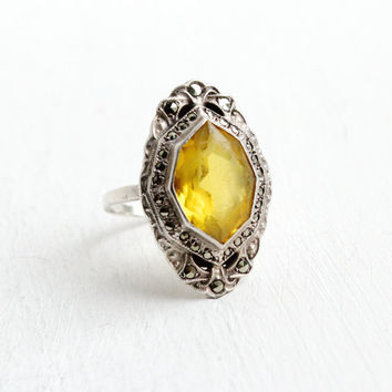 Antique Art Deco Yellow Glass & Marcasite Ring- Vintage Size 7 1/4 1930s Sterling Silver Jewelry