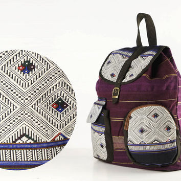 Small Leisure backpack, School Bag, Daypack, Knapsack, Ethnic Tribal Textile