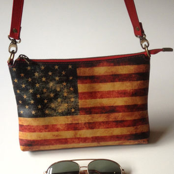 Red Cross Body Bag American Flag Bag Red Shoulder Bag with US Flag Red Clutch Red Wristlet with American Flag Leather Purse Made in USA