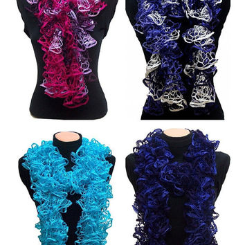Hand knitted ruffled scarf