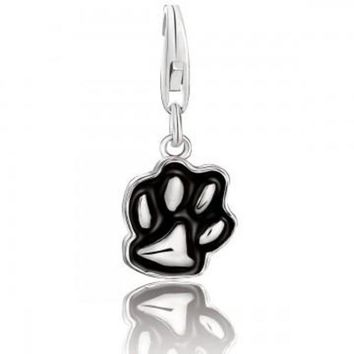 ac NOVQ2A Sterling Silver Black Enameled Dog Paw Charm