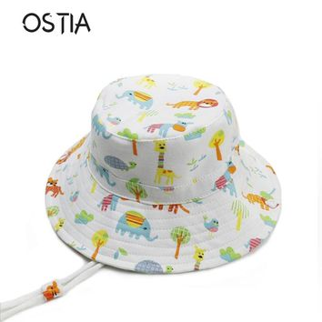 OSTIA 2018 New Kids Animal Summer Cap Baby Sun Hat For Girl Boys Bucket Cap For Children Hat Flower Elephant Caps With Strap H25