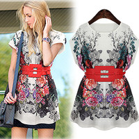 Off White Floral Print Kimono Tunic Mini Dress