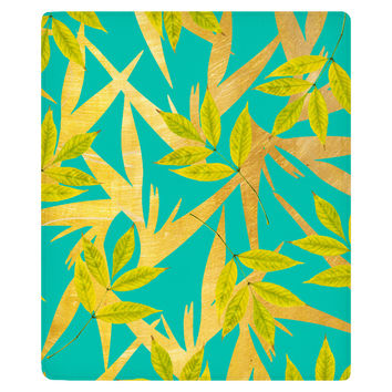 Gold and Teal Florals Fleece Throw