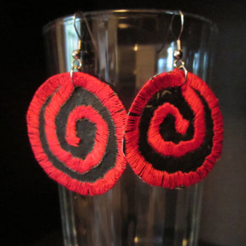 Gothic Red Spiral Recycled Earrings