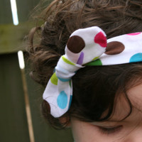 Top Knot Headband/ Multi Color Polka Dot Knotted Headband/ Infant Headband/ Toddler Headband/ Lavender Knit Headband