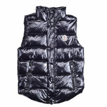 "Moncler Men's ""TIB"" Black Down Full Zip Button Down Vest - Best Deal Online"