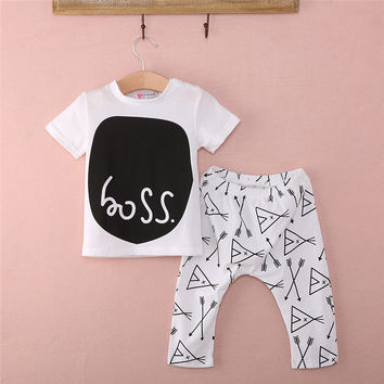Hot Sale Infant Newborn Baby Boys Boss Letter printed Cotton Tops T-shirt Long Pants Outfits Set Clothes