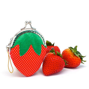 Delicious strawberry mini coin purse by michellechan1010 on Etsy