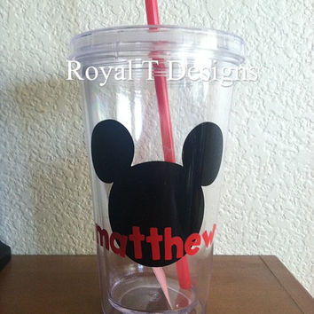 16oz Clear Personalized Mickey Tumbler