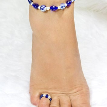 Blue Anklet and Toe Ring Set Handmade Beach Anklet with matching Toe Ring Bridal Party Gift For Women Accessories Foot Jewelry Beachwear