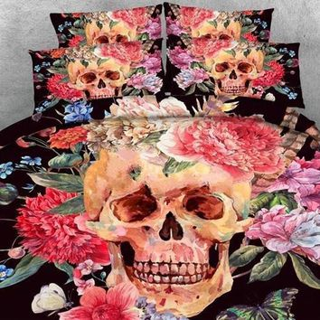 3D Sugar Skull with Blooming Flowers Printed Cotton Luxury 4-Piece Black Halloween Bedding Sets/Duvet Covers