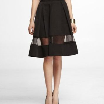 HIGH WAIST SHEER INSET PLEATED SKIRT