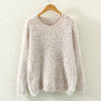 Womens Winter Warm Mohair Knit Sweater