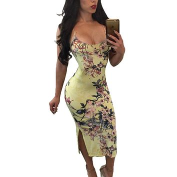 Spaghetti Strap Lace Up Back Yellow Floral Dress