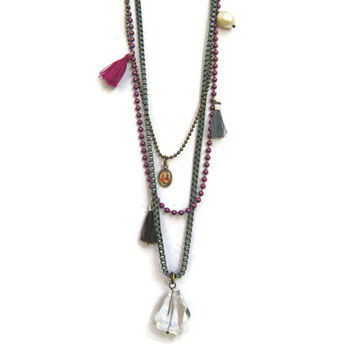Gypsette Layered Long Bohemian Necklace  With Charms, Mauve - Boho Jewelry