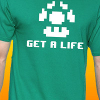 Get A Life Super Mario Bros. Video Game Humor T-Shirt