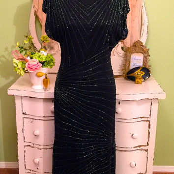 Beaded Trophy Dress, Bridal Party Dress, Deco Style Gown, Size 10 Medium, Beaded Sequin Dress, Opera Event Attire, Bohemian Flapper Gown