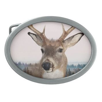 Whitetail Deer Double Exposure Belt Buckle