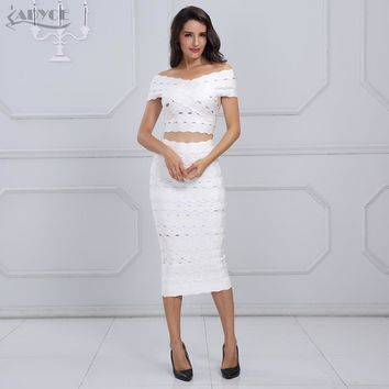 Adyce 2017 New Arrival Winter Bandage Dress Set Chic Women Elegant White Off the Shoulder 2 Two Pieces Set Party Dress
