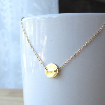 Simple Hammered Mini Gold Disc Necklace - Modern Dainty Everyday Wear by Yameyu