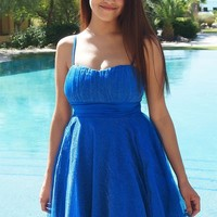 Into The Night Royal Blue Skater Dress