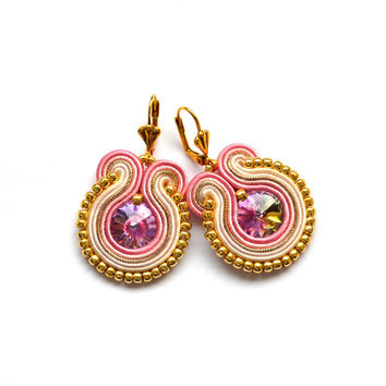 Pink gold beige soutache earrings rose boucles d'oreilles piendientes orecchini bijoux bollywood indian wedding bridal earrings bridesmaids