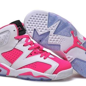 DCCKIJ2 Womens Air Jordan 6 Retro High Basketball Shoes White Pink